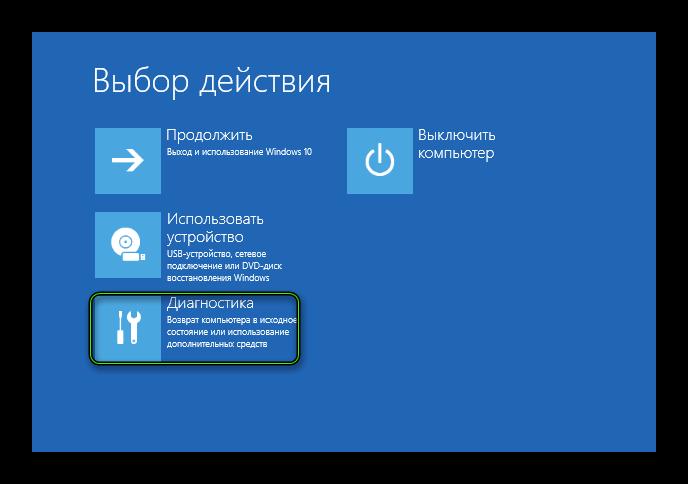 Пункт Диагностика в меню перезагрузки Windows